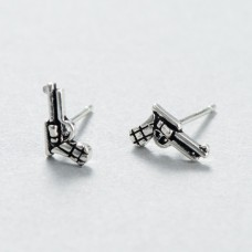 Wholesale Vintage 925 Sterling Silver Exaggerated Pistol Earrings
