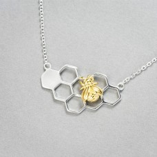 Wholesale Simple Style 925 Sterling Silver Gold Filled Beehive Necklace