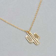 Wholesale Simple Style 925 Sterling Silver Gold Filled Cactus Necklace
