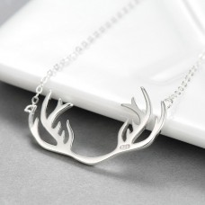 Wholesale Simple Style 925 Sterling Silver Deer Antler Necklace