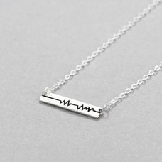 Wholesale Simple Style S925 Sterling Silver Cardiogram Necklace