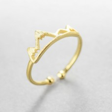 Wholesale Simple Style 925 Sterling Silver adjustable 18K Gold Mountain Ring