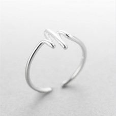 Wholesale Simple Style 925 Sterling Silver Cardiogram Ring
