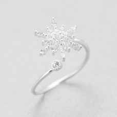 Wholesale 925 Sterling Silver Adjustable Snowflake Ring with Rhinestone