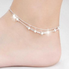 factory cheap eco-friendly fashion silver star multi-layers anklets for women
