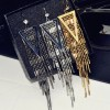 New fashion style crystal geometric long metal tassel earrings real gold plated