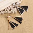 New fashion style cubic zirconia black triangles stud earrings with real gold plated