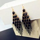 New fashion waterdrop crystal Bohemian style tassel peacock earrings