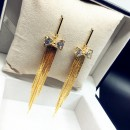 New fashion earrings cubic zirconia bowknot shining gold tassel earrings