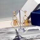 New fashion style stick bar metal rhombus diamond earrings gold plated