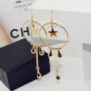 New fashion metal circle star water drop earrings anti-allergic dangling earrings