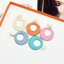 New fashion style anti-allergic 925 Geometric round circle dangling loop linen PU earrings