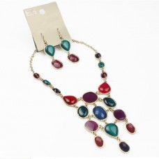 Resin Stone Necklace&Earrings