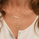 Fashion multi-chain layers round chip triangle stick clavicular necklace costume necklace for women