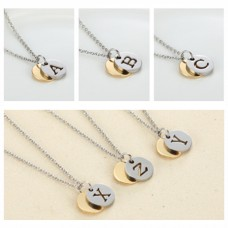 New pierced DIY hollow alphabet charm necklace stainless steel carved letter logo necklace