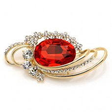 Red Round Crystal Brooch